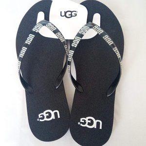 New UGG Black & White Slippers Flip Flops Size 9
